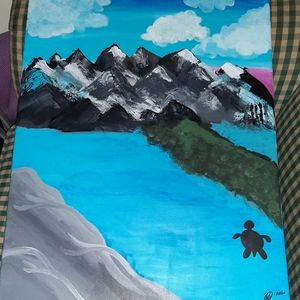 """Hand Painted: Mountains & Turtle Living Free"""""""